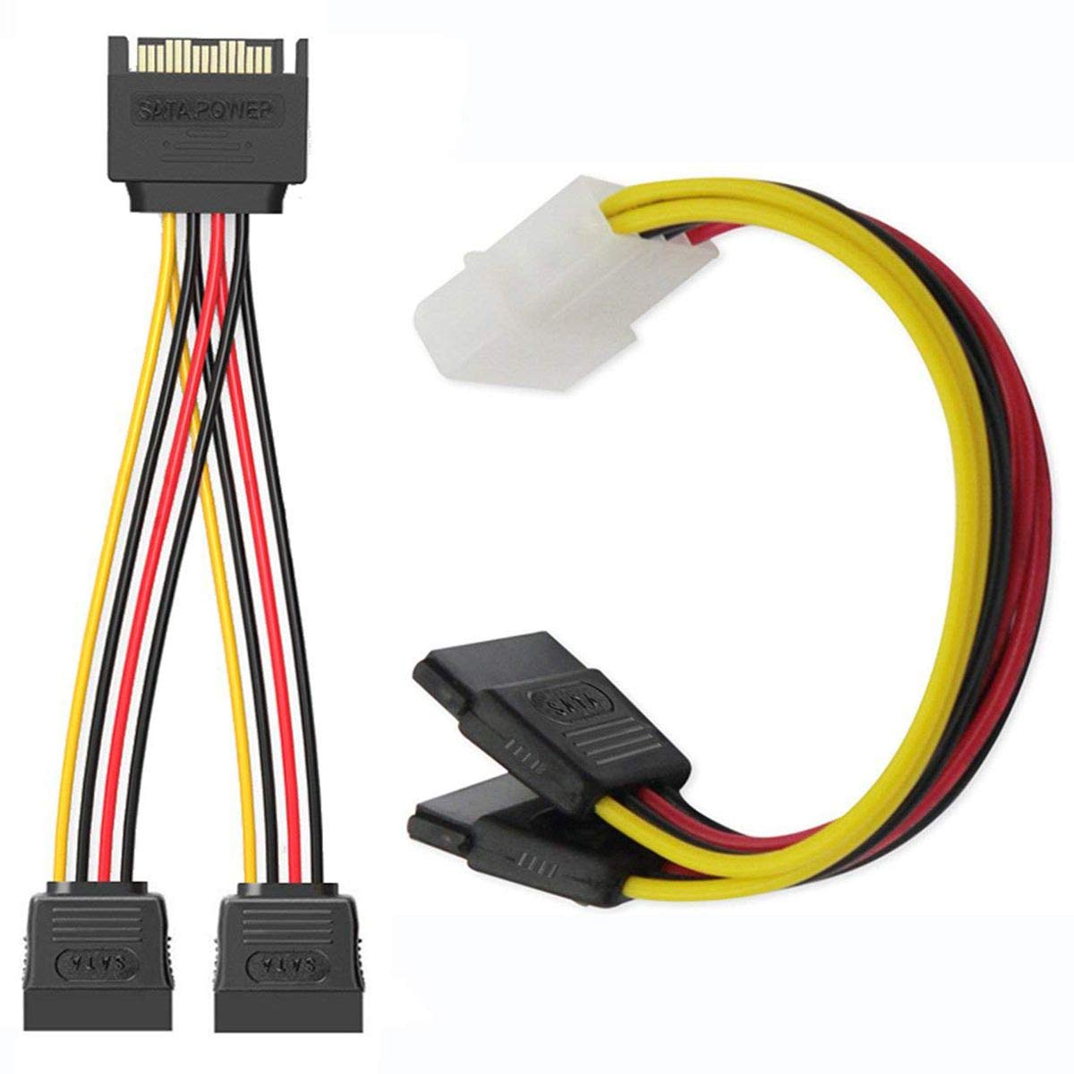 1x 4 Pin to Dual 15 Pin SATA Power Splitter Cable, 1x 15 Pin to Dual 15 Pin S Cailiaoxindong hot-SSD//SATA III Hard Drive Connection Cables