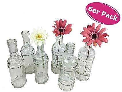 Conjunto de 6 botellas de cristal, translúcido (juego de jarrones para mesa, de