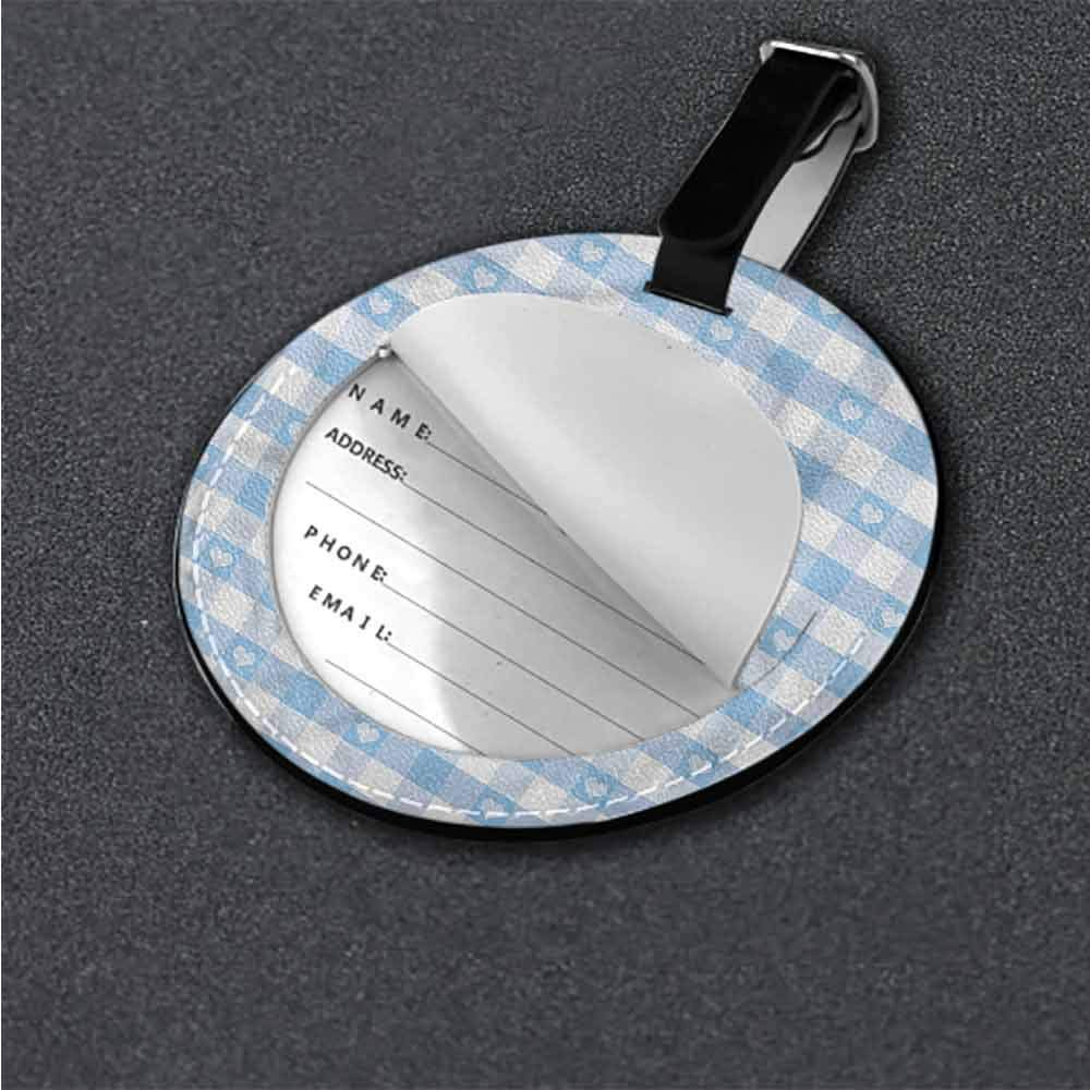 Cute Luggage Tag Checkered,Linked Circles Modern Id Tag Suitcase Carry