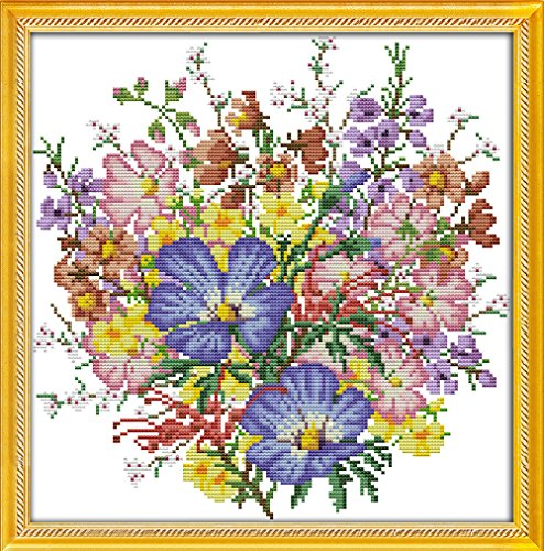 CaptainCrafts Hot New DIY Art Cross Stitch Kits Patterns Needlecrafts Counted Embroidery Kit - Wild Flowers Bouquet (Two, Stamped) ()