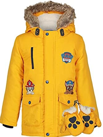 07022fe37a05 Boys Paw Patrol Hooded Coat with Mittens Parka Jacket (Age 3-4 Years ...