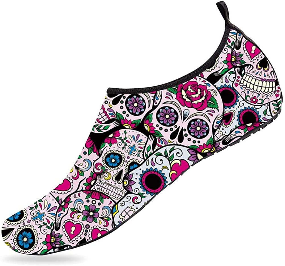 NUFURE Sugar Skull Water Sports Shoes Quick-Dry Aqua Socks for Beach Swim Surf Yoga Boat for Men Women Kids
