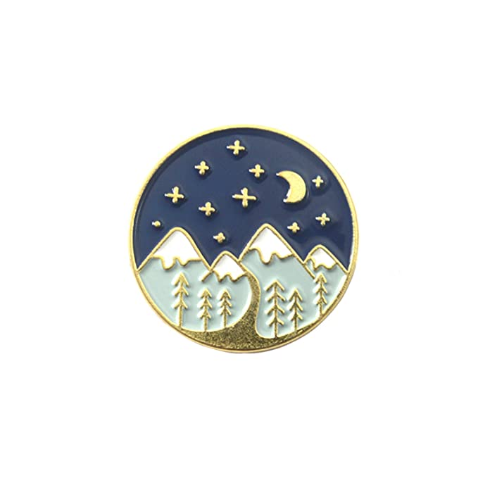 Amazon com: Snow Mountain Enamel Pins Gold Silver Starry Night Moon