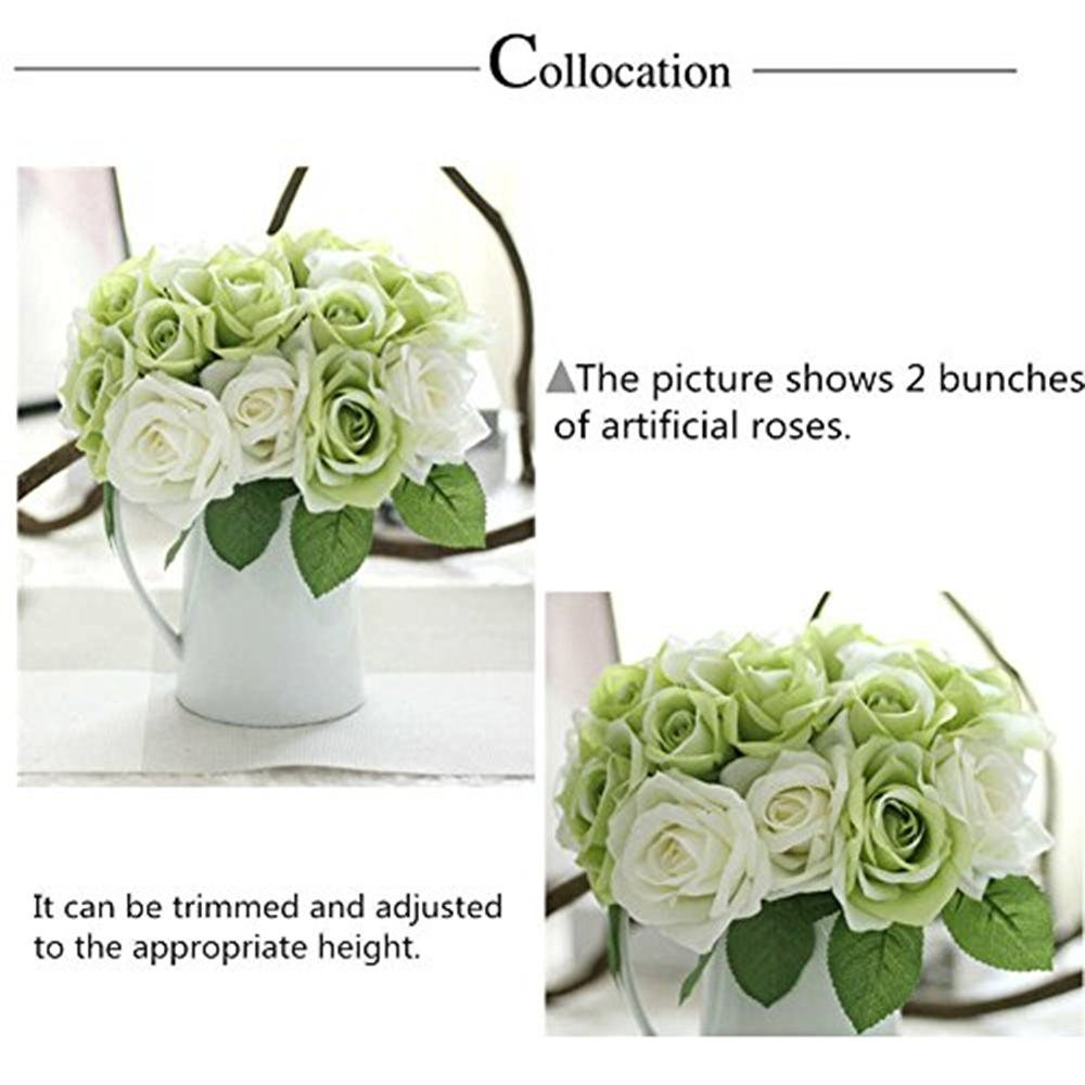 Artificial flowers fake flowers silk plastic artificial roses 9 artificial flowers fake flowers silk plastic artificial roses 9 heads bridal wedding bouquet for home garden party wedding decoration green white izmirmasajfo