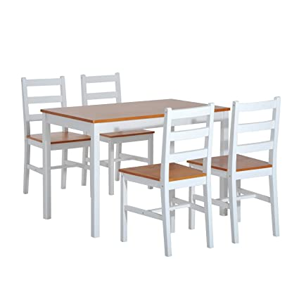 Beau HomCom 5 Piece Solid Pine Wood Table And Chairs Dining Set   White