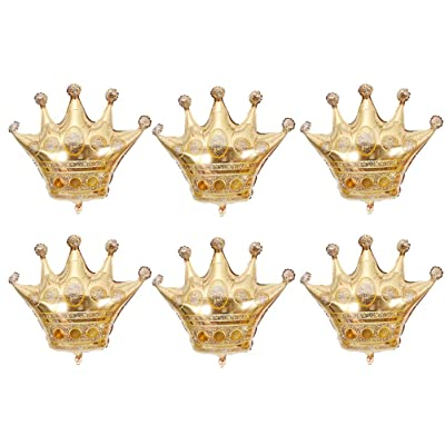 JANOU 6Pcs Gold Crown Balloons Foil Helium 30 Inch Crowns Balloons for Birthday Wedding Party Decoration: Toys & Games