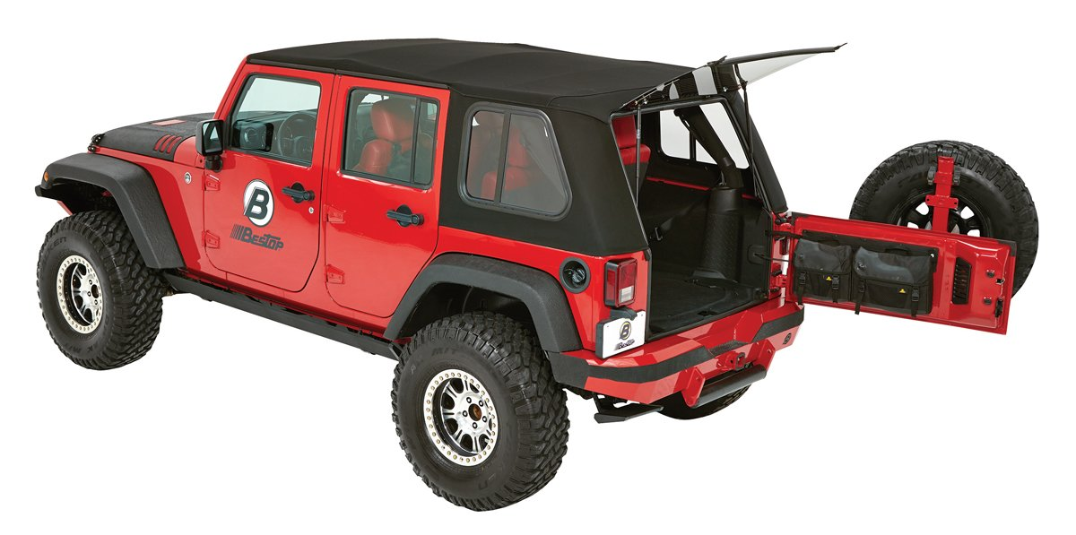 Bestop 54853-17 Trektop Pro Hybrid Soft Top w/ Tinted Sliding Side Panels for 2007-2018 Wrangler 4-Door