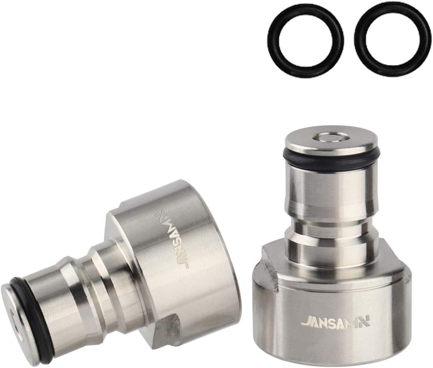 Jansamn Keg Coupler Stainless Steel Ball Lock Posts 5/8 NPT Thread Sanke Adapter Quick Disconnect Conversion Kit For Homebrewing, Silver