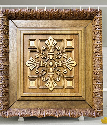 Rustic Decor Wood Frame Carving View Wooden Door Decoration Pattern Flower Cross Antique Carving Rustic Retro Vintage Style Ornament Print Polyester Fabric Shower Curtain Khaki Brown (Curtain Frame compare prices)