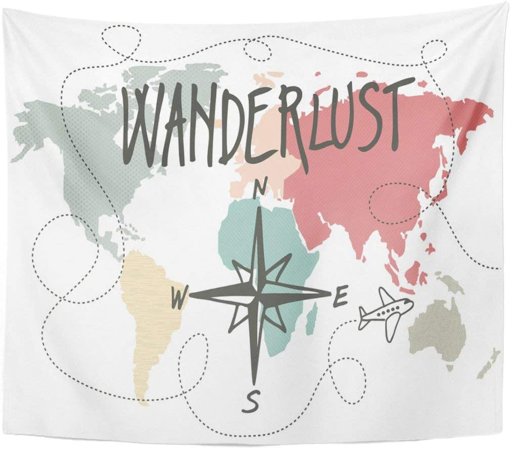 Amazon Com Joocar World Map Tapestry World Wanderlust Vintage Map Compass Travel Pastel Trip Home Decor Tapestries Wall Hanging For Living Room Bedroom Dorm 59 1 X 78 7 Home Kitchen