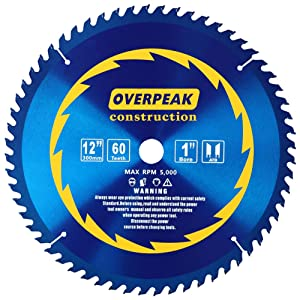 Overpeak 12-Inch Circular Saw Blades, 60 Tooth ATB Thin Kerf Combination Saw Blades with 1-Inch Arbor and PermaShield Coating