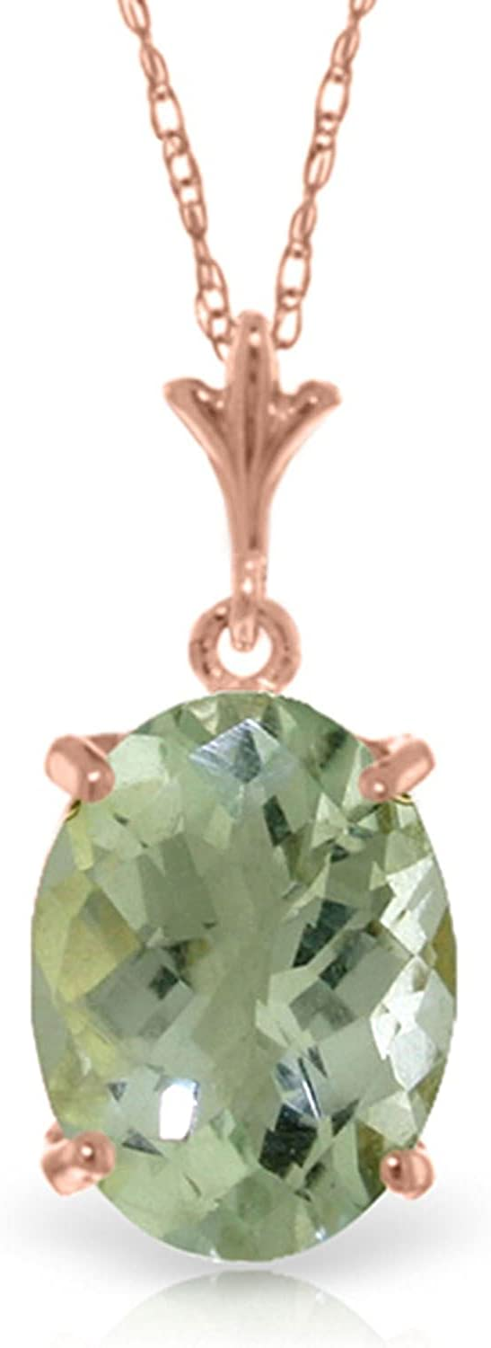 ALARRI 14K Solid Rose Gold Necklace Natural Checkerboard Cut Green Amethyst with 24 Inch Chain Length