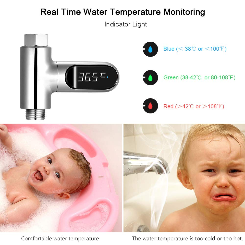 Walmeck Pantalla LED Digital de Temperatura de la Ducha 0~100 ℃ Term/ómetro de Agua para ba/ño de beb/é Pantalla Celsius//Fahrenheit Pantalla giratoria de 360 /° para el hogar Cocina Ba/ño