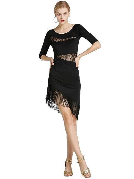 Kaiyei Sexy Desigual Mujeres Chicas Encaje Borla Latina Falda señoras Flecos Latino Tango Salón Salsa Rendimiento Baile Vestido: Amazon.es: Ropa y ...