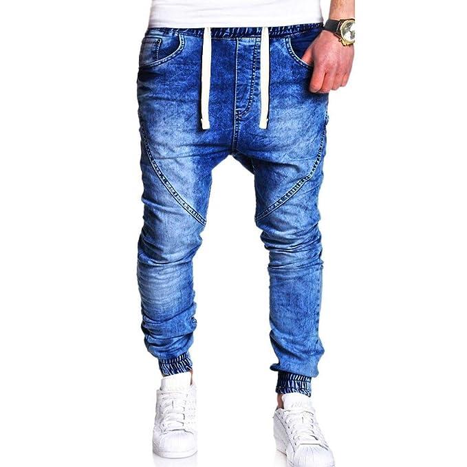 Moda uomo Casual Vintage Elastic Wash Denim Slim afflitto Pantaloni Jeans-  Uomo sottile Biker jeans 05d7a89ed25b
