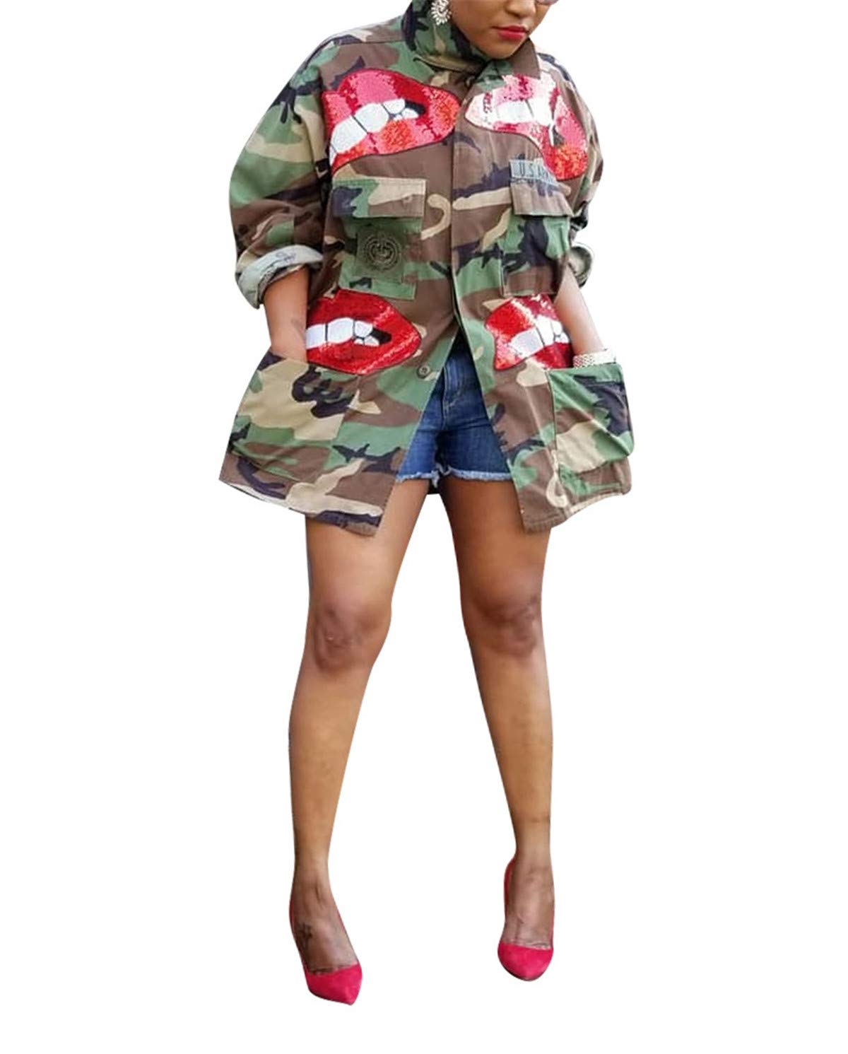 Antique Style Womens Street Fashion Military Camouflage Printed BF Coat Safari Jacket Overcoats