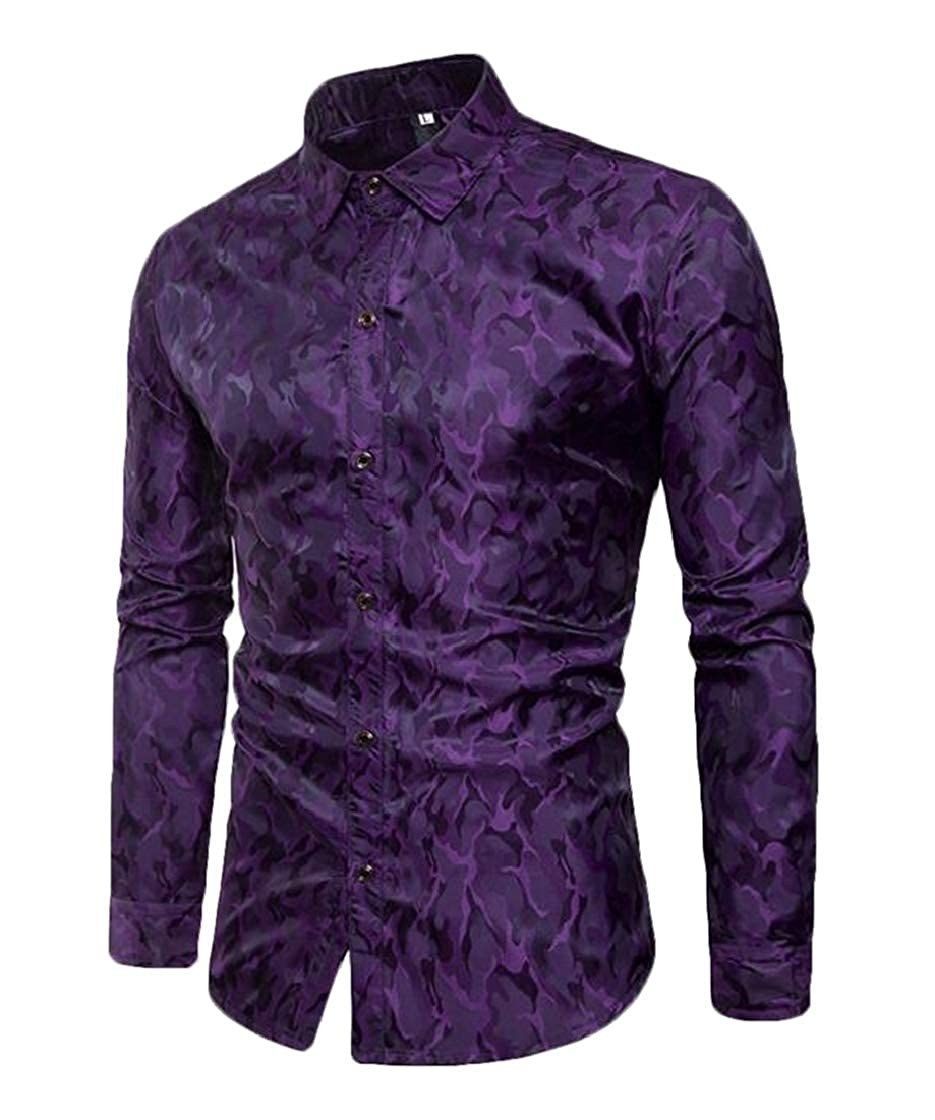 YYear Men Clubs Long Sleeve Designed Lapel Stylish Camo Dress Shirt