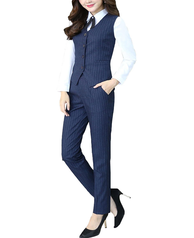 MFrannie Womens Stripes Blouse Pants Vest 3-Pieces Office Lady Work Suit Set