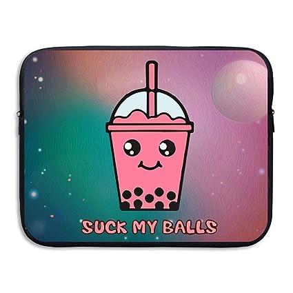 Suck My Balls Kawaii Bubble Tea Soft Water Proof Neoprene Carrying Case Sleeve Bag For
