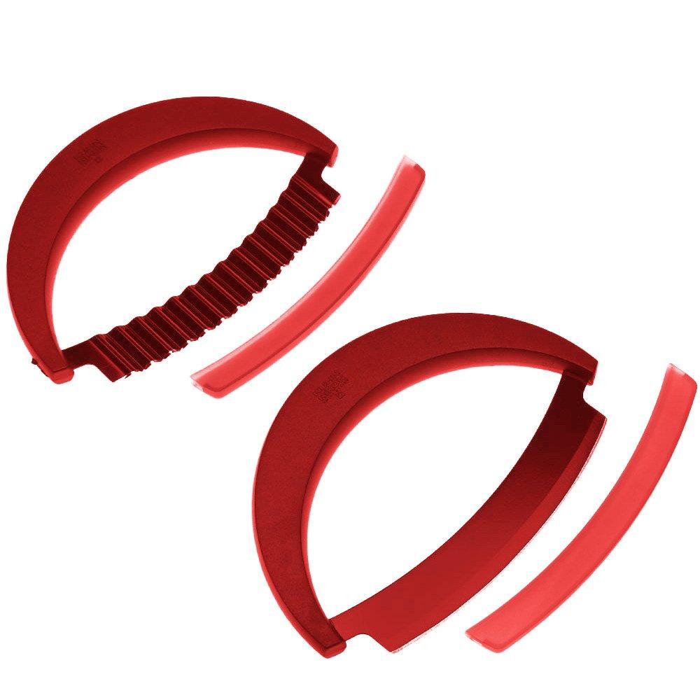 Kuhn Rikon 2-Piece Crinkle Cutter and Mezzaluna Knife Set, Red