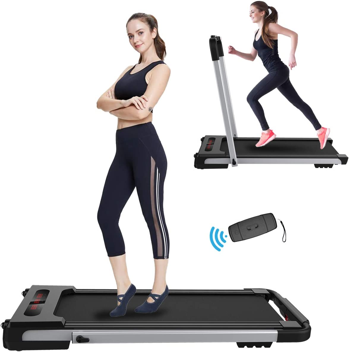2 in 1 Folding Treadmill Under Desk Electric Treadmill Walking Running Exercise Machine with LED Display, Bluetooth Speaker & Remote Controller, Motorized Treadmill for Home Office (Installation-Free)