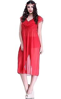 Miss Pixy Women s Floral Red Nighty Satin Casual Sleepwear  Amazon ... 9ac154048