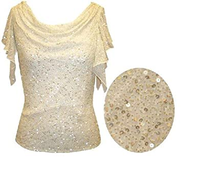 7948c1744c The Evening Store Great Sequin Beaded   Pearled Top at Amazon Women s  Clothing store  Blouses