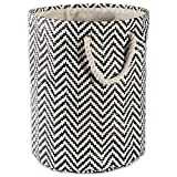 DII Woven Paper Basket or Bin, Collapsible & Convenient Home Organization Solution for Bedroom, Bathroom, Dorm or Laundry (Medium Round - 14x17) - Black Chevron