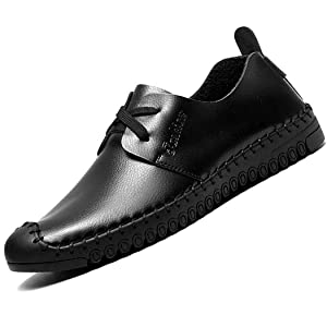 XLD Men's Lace-Up Leather Oxford Sneakers Shoes(Black EU43)