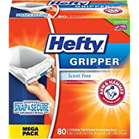 80-Count Hefty Gripper Drawstring 13-Gallon Trash Bags