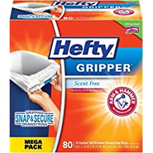 Hefty Gripper Trash/Garbage Bags (Odor Control, Kitchen Drawstring, 13 Gallon, 80 Count)