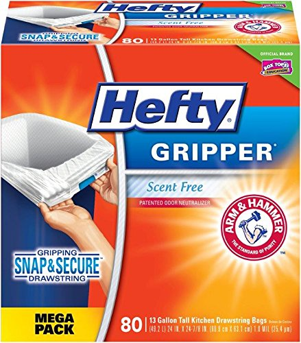 Hefty Gripper Trash Bags (Tall Kitchen Drawstring, 13 Gallon, 80 Count)
