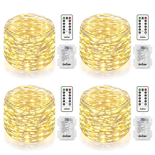 (4 Pack Fairy String Lights, Battery Operated Waterproof 8 Modes Remote Control 66 Led 16.4ft Indoor Lights Silver Wire Twinkle Lights for Bedroom Wedding Party Dinner Festival Decor (Warm White) ¡­)