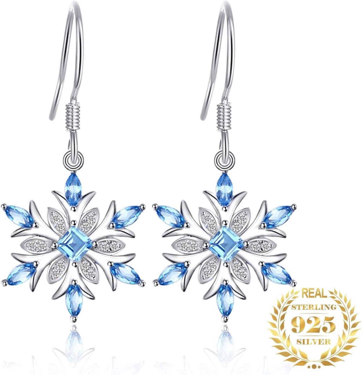 AdronQ Pendientes de Gota de topacio Azul Genuino de Copo de Nieve Pendientes de Plata 925 para Mujeres Pendientes de Piedras Preciosas Joyería de Moda