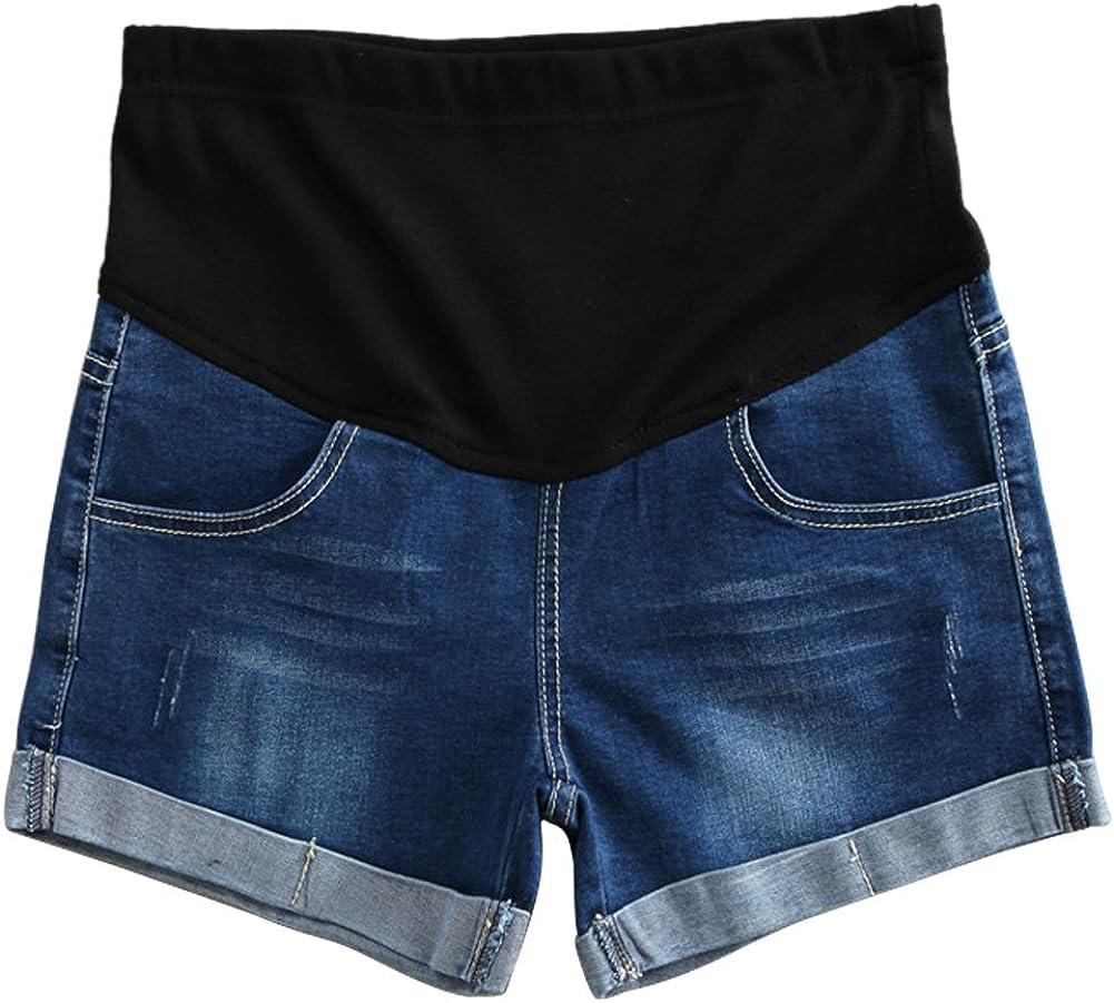 Xinvivion Damen Mutterschaft Jeans Kurze Hose Shorts Mode Einstellbar Elastisch Pflege Bauch Sommer Schwanger Denim Kurz Hosen