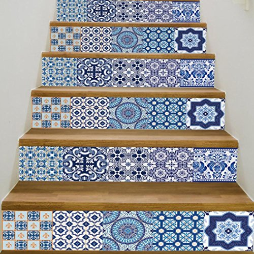 1Roll Of 6Pcs Stair Stickers,Woaills DIY Removable Ceramic Tiles Patterns Steps Mural Decor (B)