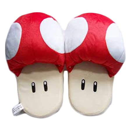 Super Mario Brothers 11inch Red Mushroom Plush Slippers Cosplay for Adult