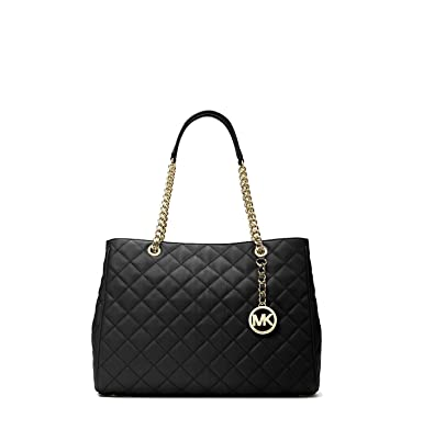 ce114744e9c9 Michael Kors Susannah Large Quilted Leather Tote in Black: Amazon.co.uk:  Clothing