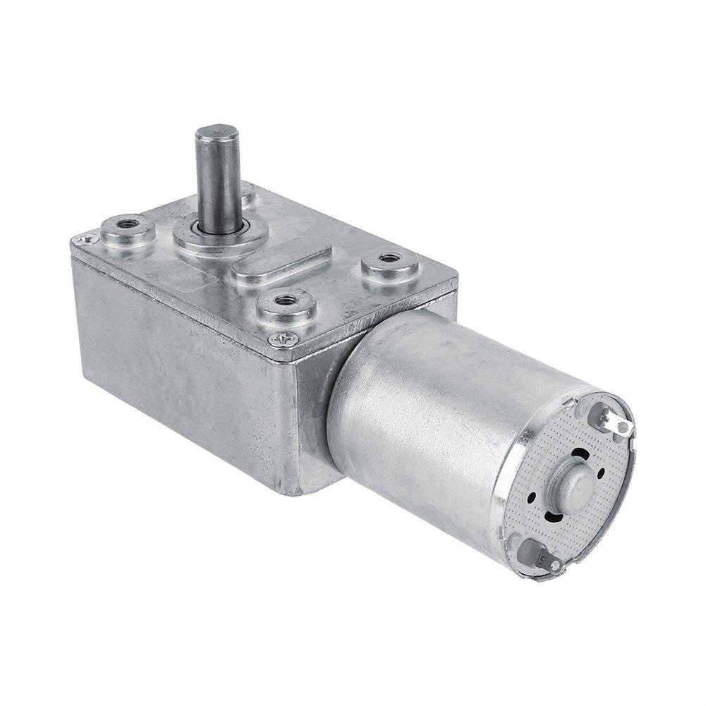 Akozon Getriebemotor Reversible Hochdrehmoment Turbo Schnecke Getriebe Gleichstrommotor DC 12V Metall Geschwindigkeitsreduzierung Elektromotor 5/6/20/40/62 (U/MIN) (40RPM)