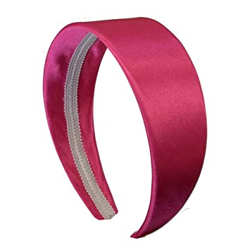 Hot Pink 2 Inch Wide Satin Hard Headband with No Teeth Head band for Women  and 603cc7b6499