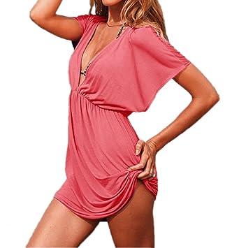 JJ-GOGO Women s Hot Sexy Beach Wear Swimwear Bikini Cover up Deep-v Shirt Beach  Dress 872a0b2f1