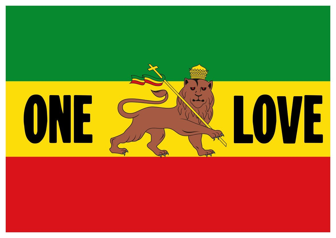 Amazon com color paper sticker one love bob marley and the wailers rastafarian reggae ethiopia everything else