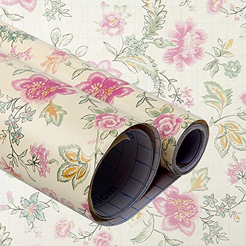 UPC 700587483226, yazi Self Adhesive Shelf Liner Moisture Proof Drawer Paper Shelf Liner,17x78 Inches,Flowers