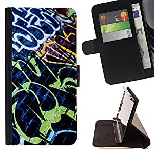 DEVIL CASE - FOR Apple Iphone 5 / 5S - Grafiti Street Wall Art Painting Neon Brick - Style PU Leather Case Wallet Flip Stand Flap Closure Cover