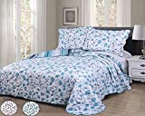 vivinna home textile Disperse Printing Quilt Set Twin Size(68''x88'' BLUE MARGARITA) -2PCS Bedspread -Lightweight Hypoallergenic Microfiber