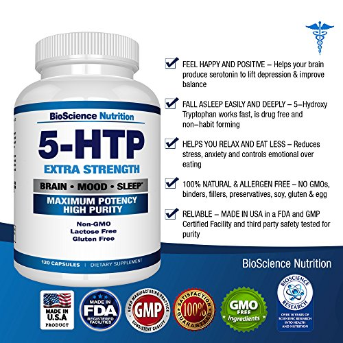 5-HTP 200 mg Supplement - 120 Capsules - BioScience Nutrition Discount