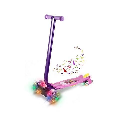Befied Tri Scooter para Niños Patinete Monopatín de 3 Ruedas con LED y Música ideal de