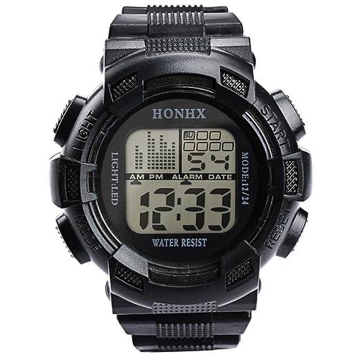 honhx para la práctica de deportes reloj LED Digital Fecha Alarma Reloj de pulsera impermeable cuarzo redondo relojes de pulsera.: Amazon.es: Relojes
