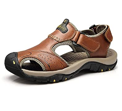 Huateng Herren Sommer Sport Sandalen Leder Geschlossene Zehen Outdoor-Trekking-Schuhe
