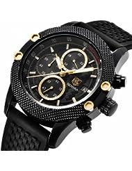 Watches, Mens watches Sport Waterproof Watch Quartz Wrist Watch in Black Silicone Band